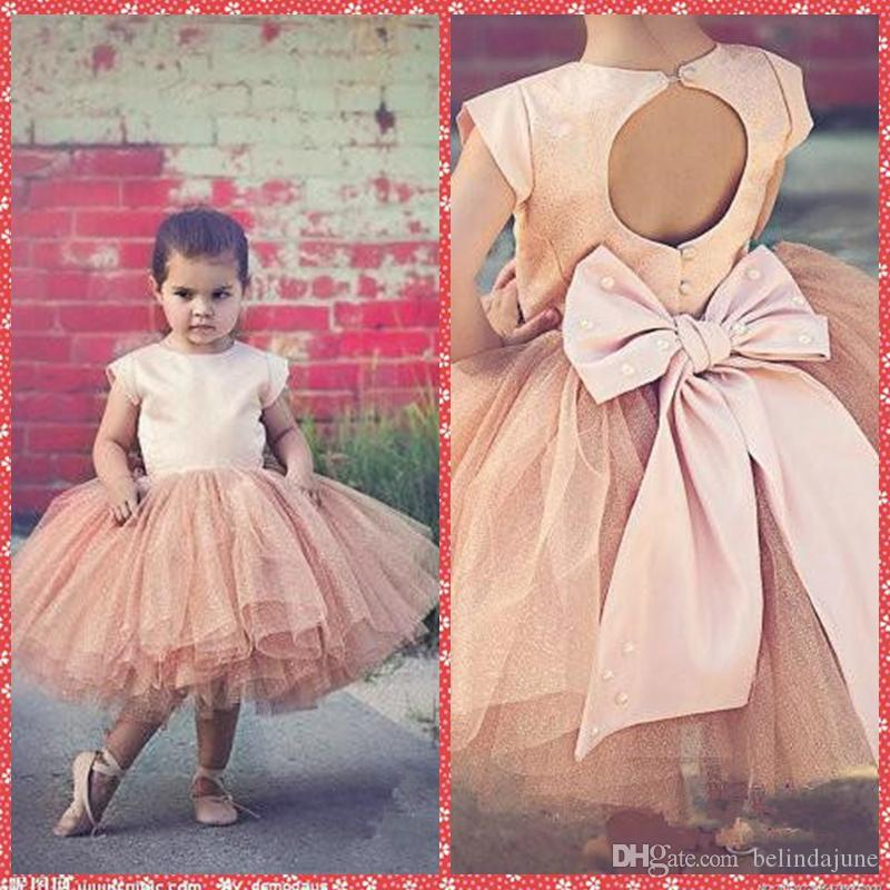Lovely Crew Neck Ball Gown Flower Girl Dresses Tulle Skirt Knee-Length Formal Pageant Party Gowns Open Back Bowknot Adorned Cheap