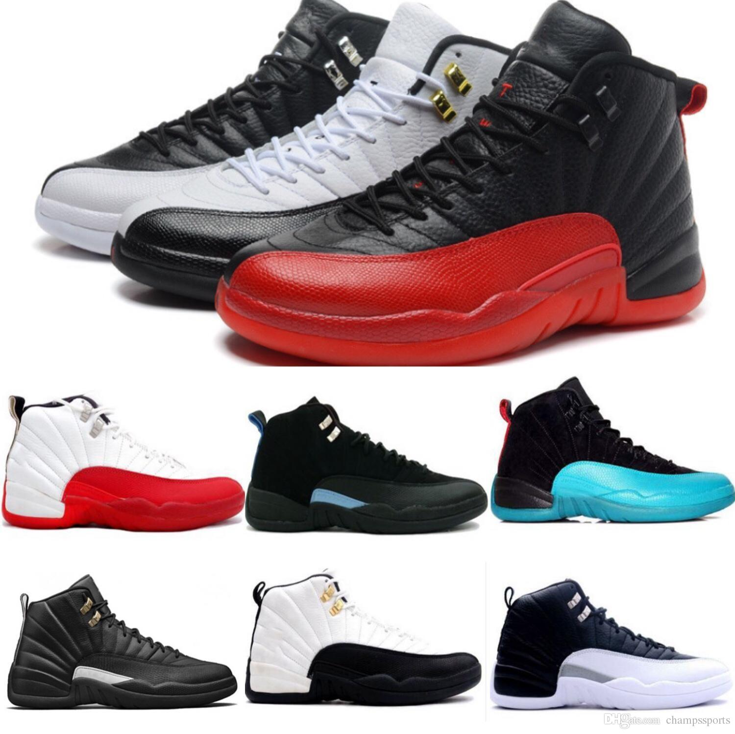60b64072521e 2018 Basketball Shoes 12 Bordeaux Dark Grey Wool Basketball Shoe Ovo White  Flu Game UNC Gym Red Taxi Gamma French Blue Suede Sneakers Barkley Shoes  Shoes ...