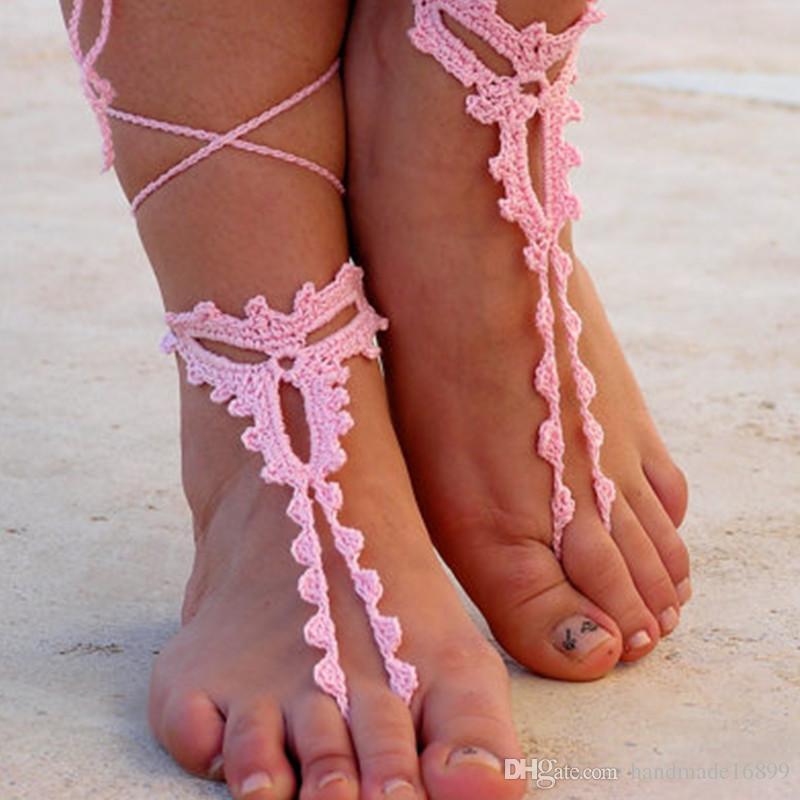 Hand häkeln Barfuß Sandalen, Rosa häkeln Sandalen. barfuss Sandalen, häkeln barfuss Sandalen, Schmuck für den Fuß