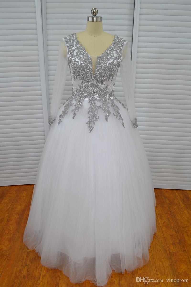Vestido De Festa De Casamento Vinoprom Ball Gown maniche lunghe scollo a V Sliver Appliques Abito da sposa Abito da sposa Weddding 2018