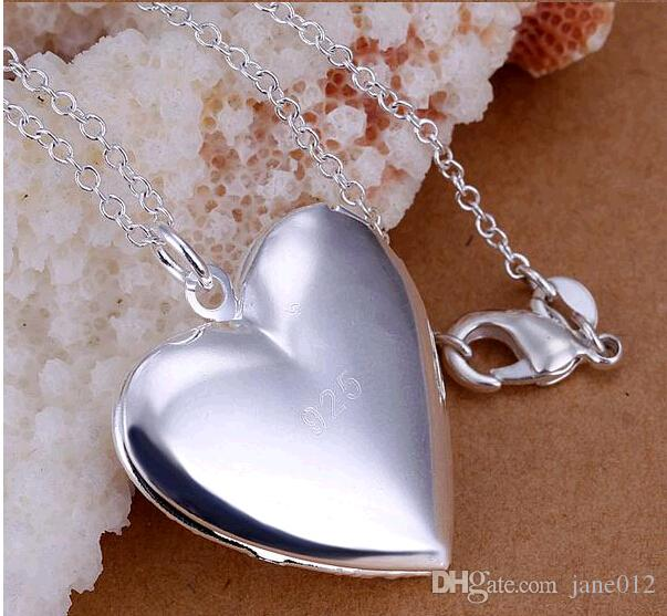 Heart Photo Frame Lockets Pendants 18'' Copper Chains 925 Sterling Silver Plated Charm Necklaces For Best Friends Holiday Gift Wholesale