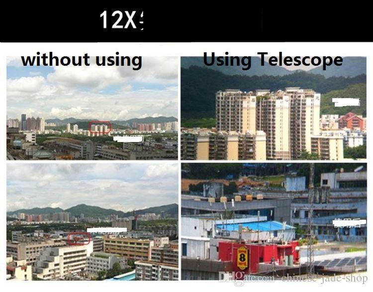 Universal 12x Optical Zoom Telescope Camera Lens Clip Mobiltelefon Teleskop för smart telefon i detaljhandelspaket / parti