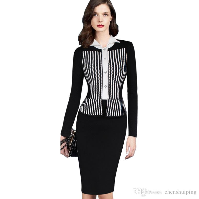 Spring Autumn Fall Women Work Dresses Long Sleeve Striped False two-piece Peplum OL Wear To Work Pencil Shirts Dress Party