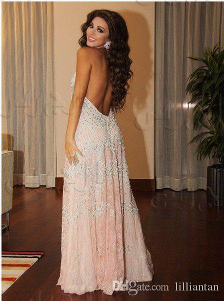 2016 Myriam Fares Arabic Dubai Prom Dresses V Neck Sexy Open Back Appliques Arabian Women Clothing Kaftan Abaya Long Party Pageant Gowns