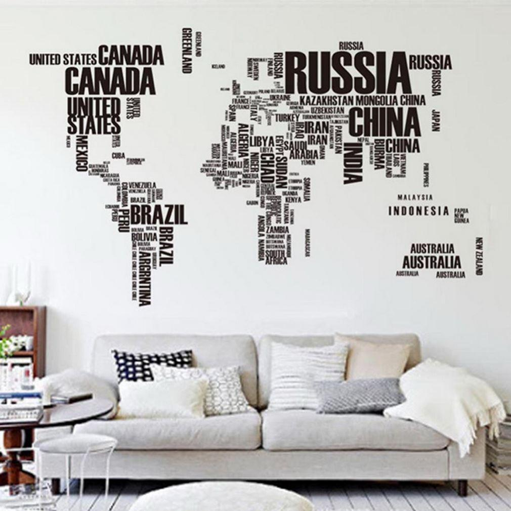60*90cm Large World Map Letter Wall Stickers Letters Map Wall Art Bedroom  Home Removable Vinyl Decal Decorations Wall Decals New Removable Wall Art  ...