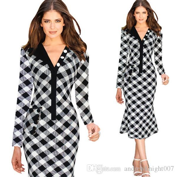 2017 Black White Plaid Dress Womens Summer Dresses 2015 2016 ...