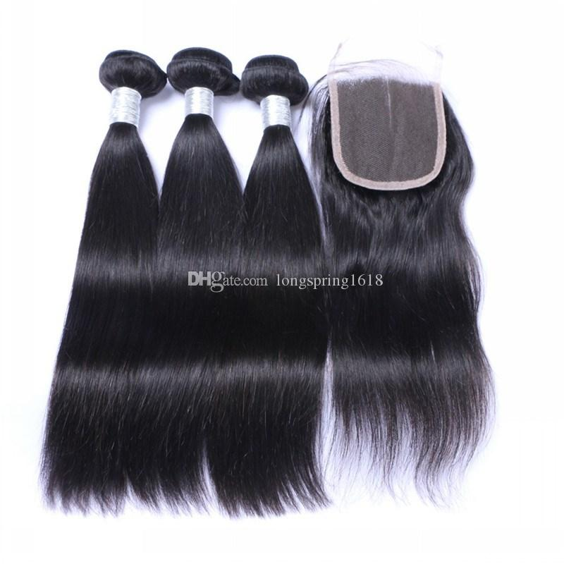 Brazilian Straight Human Hair Extension 3 Bundles with Lace Closure 4x4 Unprocessed Peruvian Indian Malaysian Cambodian Virgin Human Hair