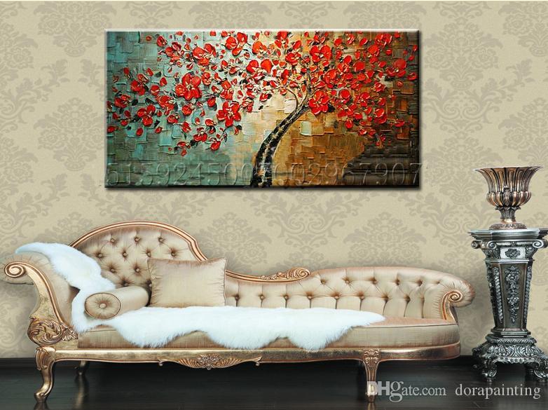100% peint à la main abstrait arbre rouge fleur peinture couteau texturé peinture sur toile moderne huile photo Wall Art Home Decor art floral
