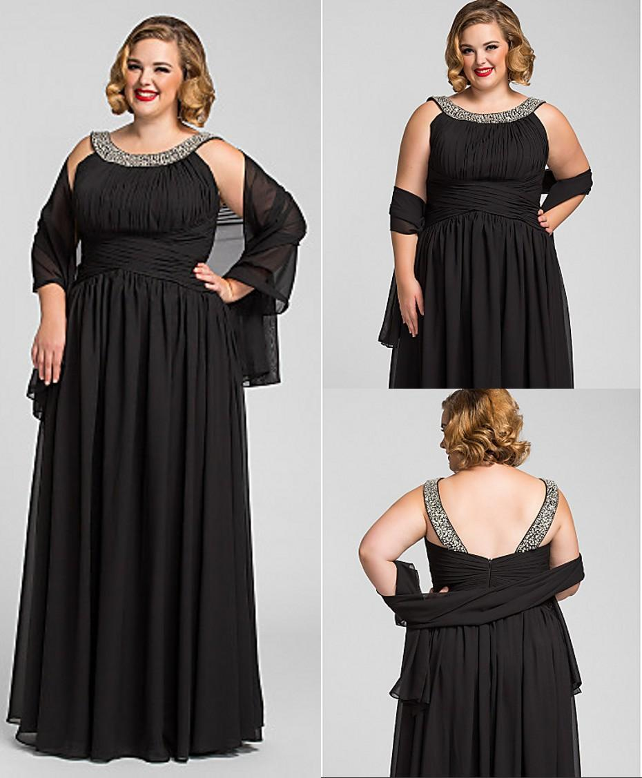 Plus Size Long Floor Length Black Formal 2016 Evening Dresses ...