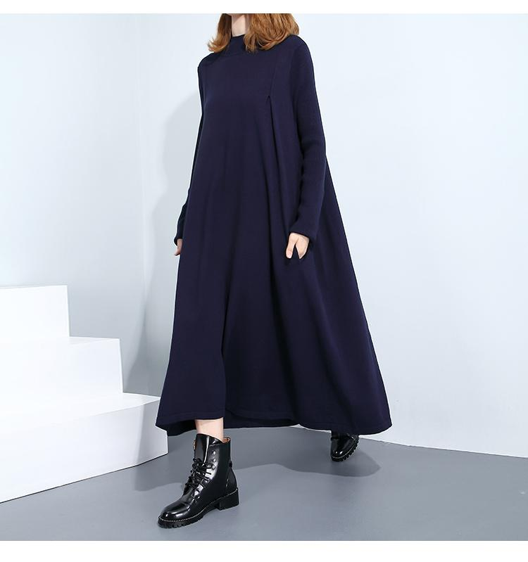 a1137f5731d0 Autumn Winter High Collar Long Sleeve Solid Color Black Dark Blue ...
