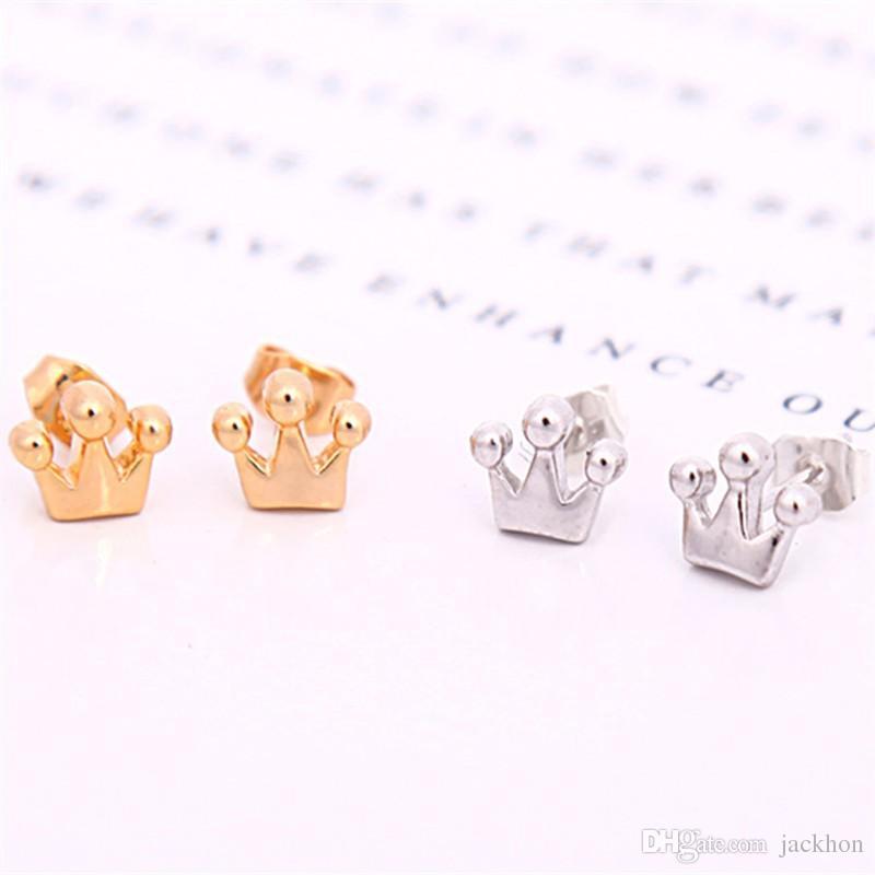 - S019 Gold Silver Tiara Small Princess Crown Stud Earrings Simple Royal Crown Stud Earrings Geometric Jewelry for Women