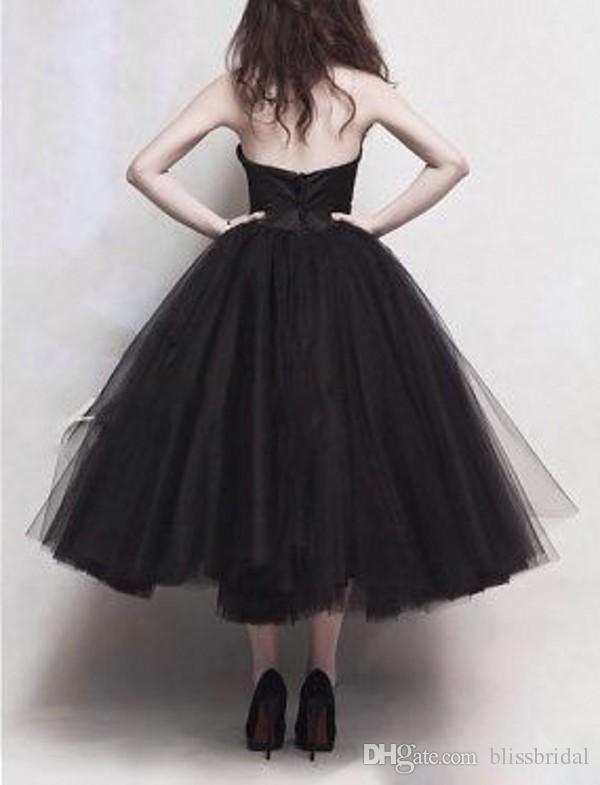 Черный тюль чай длина выпускного вечера платья без бретелек классические юбки пачка линия Принцесса платья дешевые вечерние платья