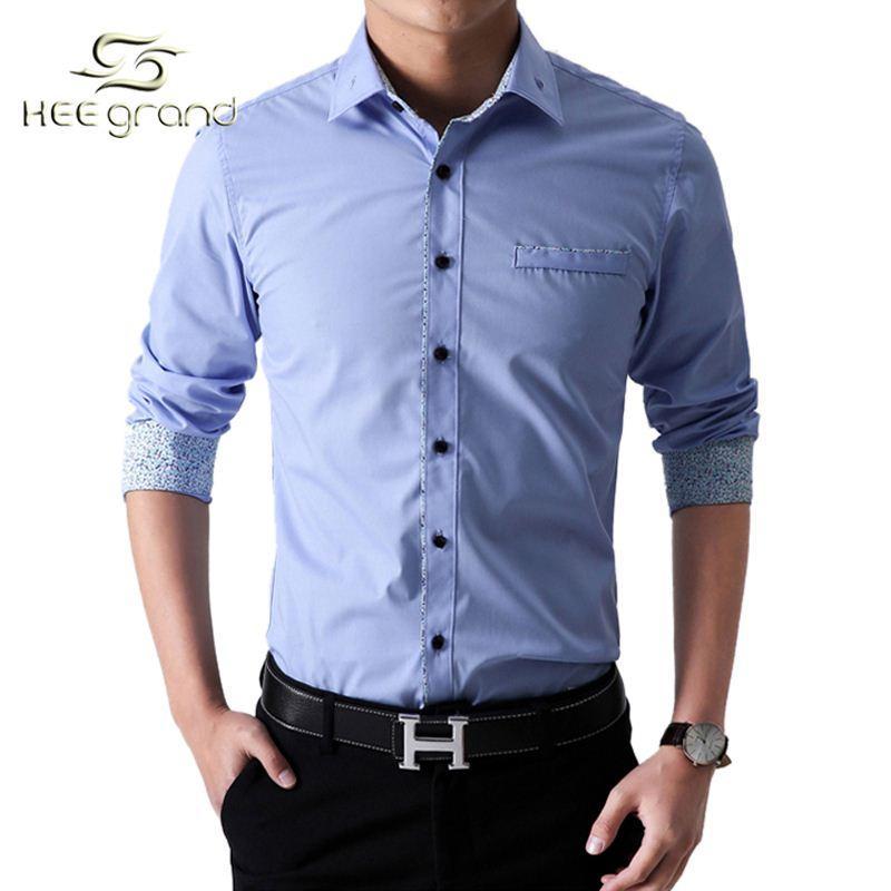 Hot sale men formal shirt high quality slim fit dress for Dress shirts on sale online