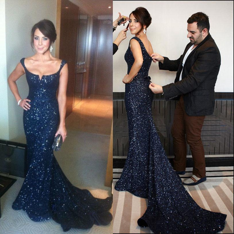 Sparkling Fitted Navy Blue Evening Dresses Mermaid