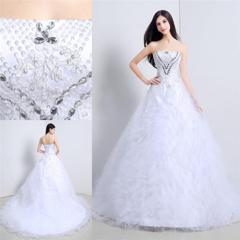 2015 Cheap Price In Stock Wedding Dresses Ball Gown Strapless