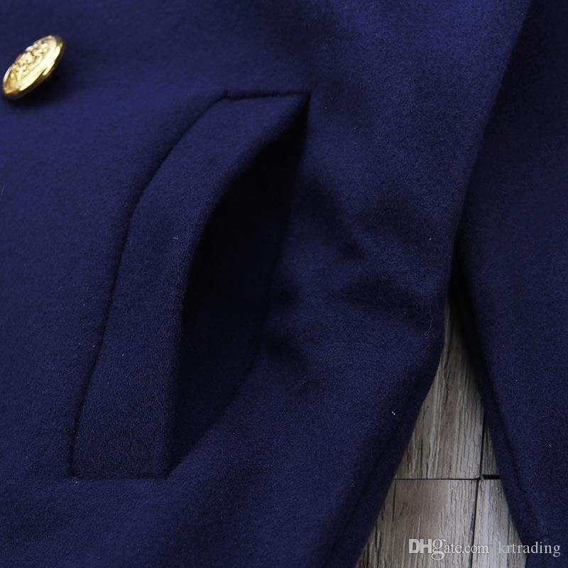 Mädchen preppy style mantel dunkelblau tailliert kragen zweireihigen anzug für 1-5 t kinder bereiten aussehen
