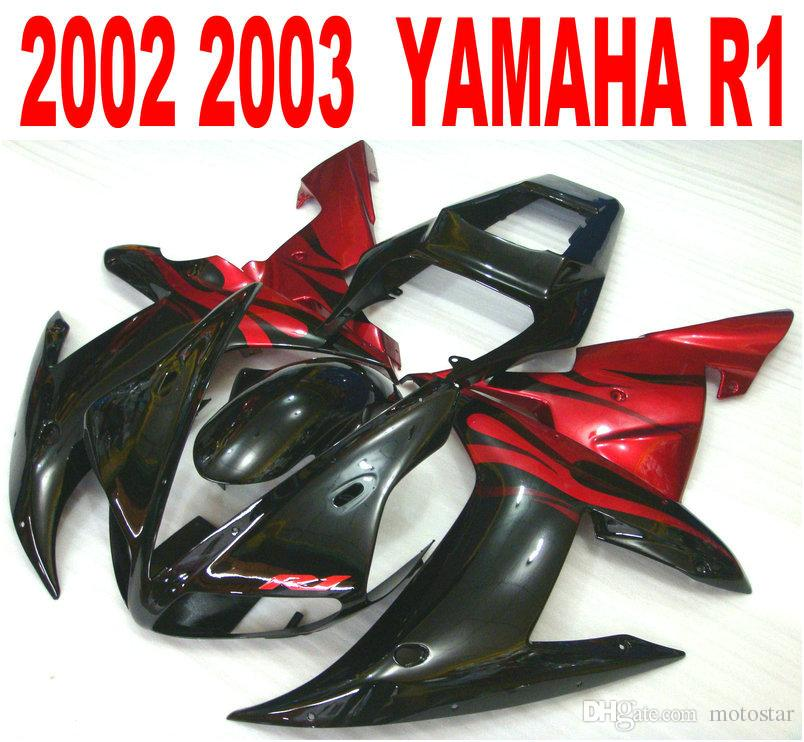 Lowest price fairing kit for YAMAHA Injection mold YZF-R1 2002 2003 red  black plastic fairings set yzf r1 02 03 HS42