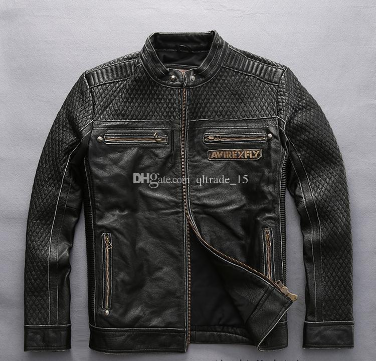 Bordados Avirex voar homens jaquetas de couro crânio cabeça motocicleta jaqueta de couro gola