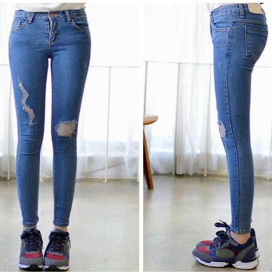 Best 2015 New Women High Waist Jeans Cute Denim Jeans Women Ripped ...