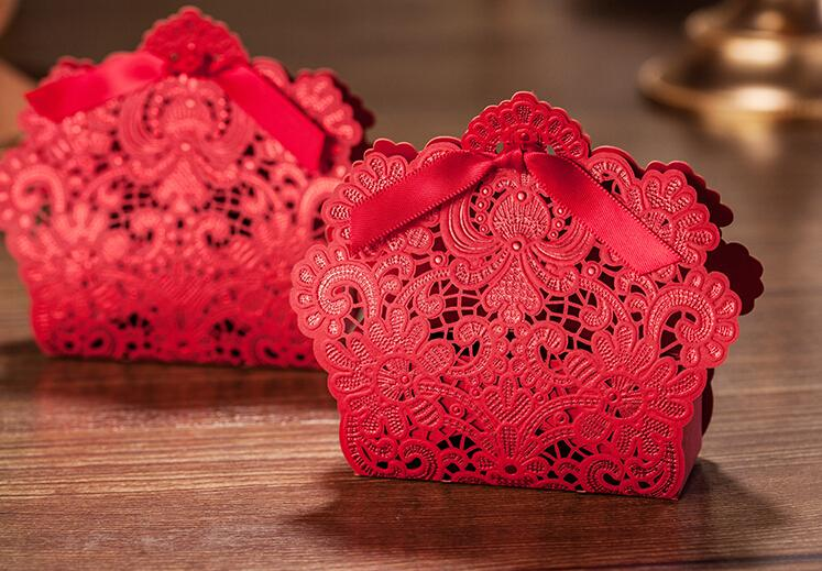 Wedding Sugar Box Customize Lace Hollow Ribbon Invitations Cards Chinese Style