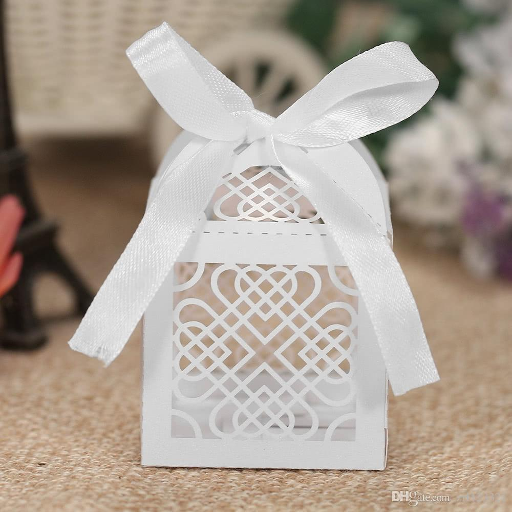 Mini Laser Cut Hollow Wedding Favor Box Candy Boxes White Pearl ...