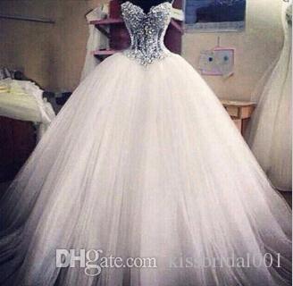 Luxus-Brautkleider mit Spitze-Perlenperlen einzigartige arabische Brautkleider Schatz-Nacken-Reißverschluss zurück weiße Tüll Prinzessin-Hochzeitskleider