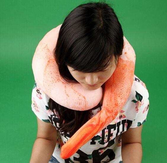 Shrimp meat U shaped neck pillow throw pillow cushion plush toy