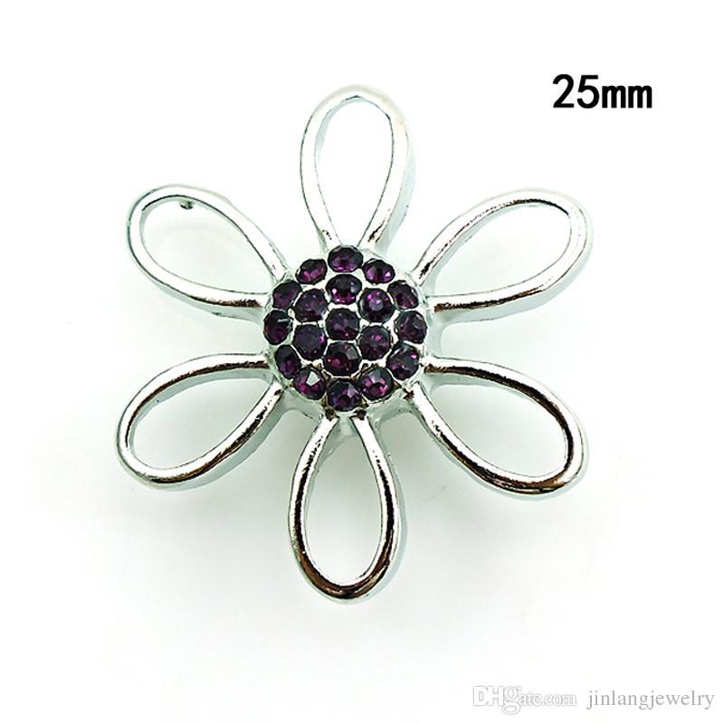 Moda 18mm bottoni a pressione i strass trafitto fiore zenzero catenacci Noosa accessori gioielli intercambiabili NKC0033