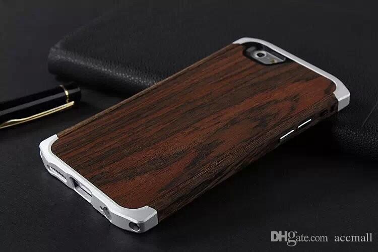 آيفون 6/6 زائد حالة خشبية الخشب الخيزران الألومنيوم معدن إطار الهجين صغير الخصر cleave هارد الغطاء الخلفي ث / الحقيبة حقيبة جلدية 4.7 5.5