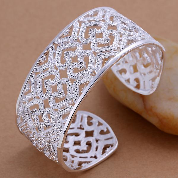 Бесплатная доставка Лучший новый стерлингового серебра 925 большой гладкой широкий манжеты браслет браслеты пирсинг с бриллиантом Рождество GIFTJEWELRY 1302