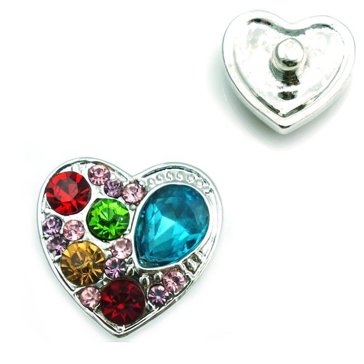 JINGLANG мода 18 мм Оснастки кнопки три цвета горный хрусталь сердце металлические застежки DIY Нуса браслеты аксессуары ювелирные изделия
