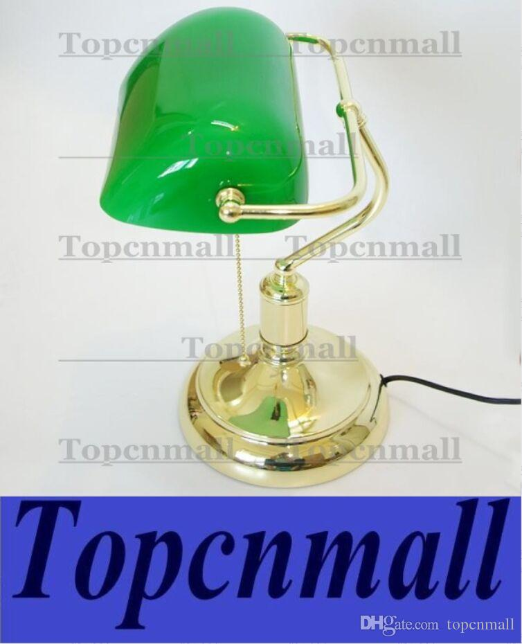 Wholesale Vintage Bank Table Lamps Retro Brass Bankers Lamp Green ...