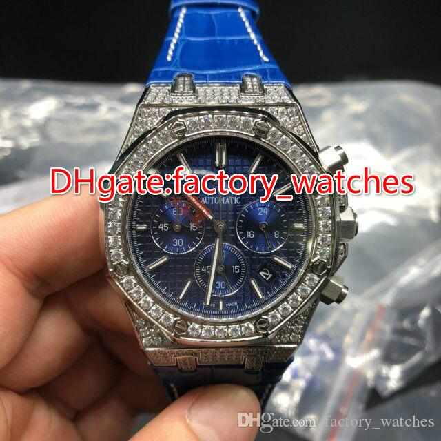 4a08926c5edf Luxury Mens Watches Quartz Movement Chronograph Silver Diamond Zircon  Sapphire Top AAA Quality Full Iced Watch Blue Leather Band Watch Latest  Watches Trendy ...