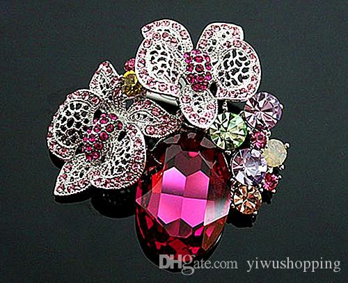 Mix Color Antique Style Rhinestone Crystal Diamante Butterfly on Flower Brooches and Pins For Wedding Bouquet