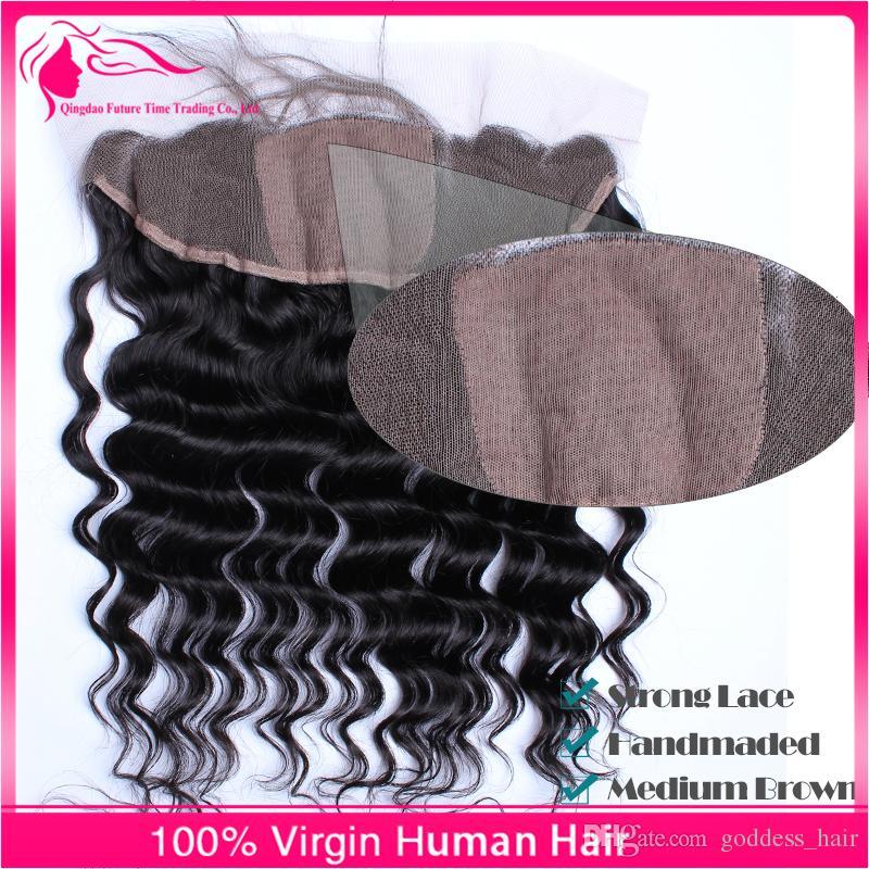 13x4 Brasileño de onda profunda Frontales de encaje de cabello humano Top de seda 4x4 '' Libre Medio 3 parte de encaje Frontal Cierre de seda Base de seda Nudos blanqueados