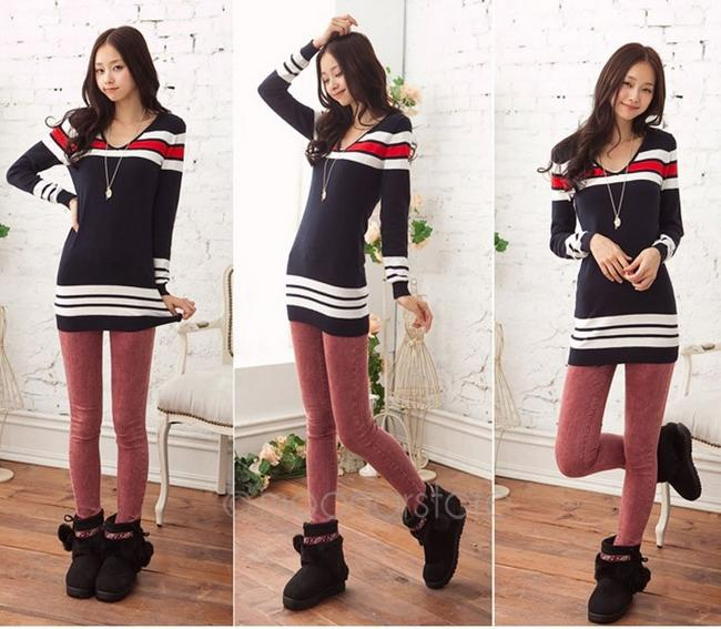 Fashion Women Blue Navy Stripe V Neck Long Sleeves Stretchy Slim Knit Dress  Knitted Tunic Sweater bfe3e8a1b