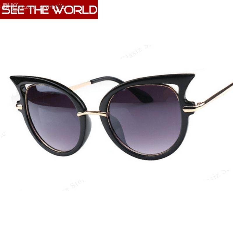 3b82afee63f Wholesale-Women New Sun Glasses Fashion Retro Metal Frame Sexy Cat ...