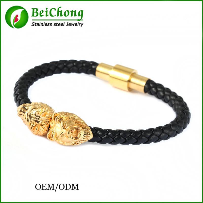 74e2bb4277c BC Jóias de Prata   ouro   Cabeça de Leão Fresco Pulseira Homens e  mulheres