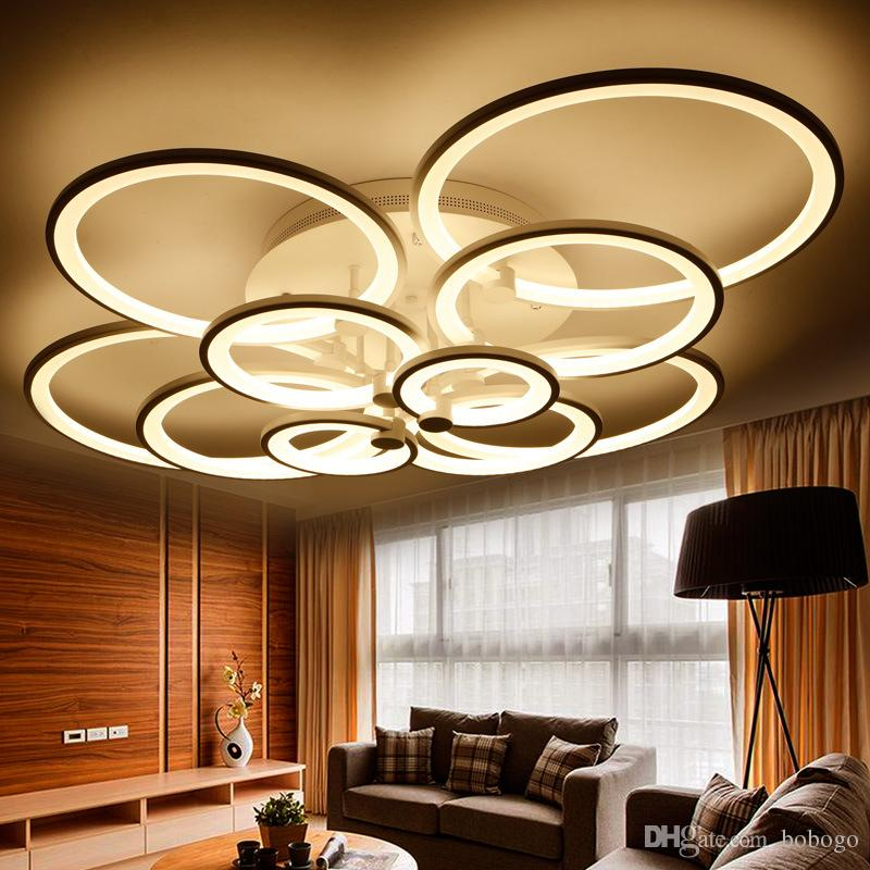 Best rings white finished chandeliers led circle modern for Deckenleuchten wohnzimmer modern led