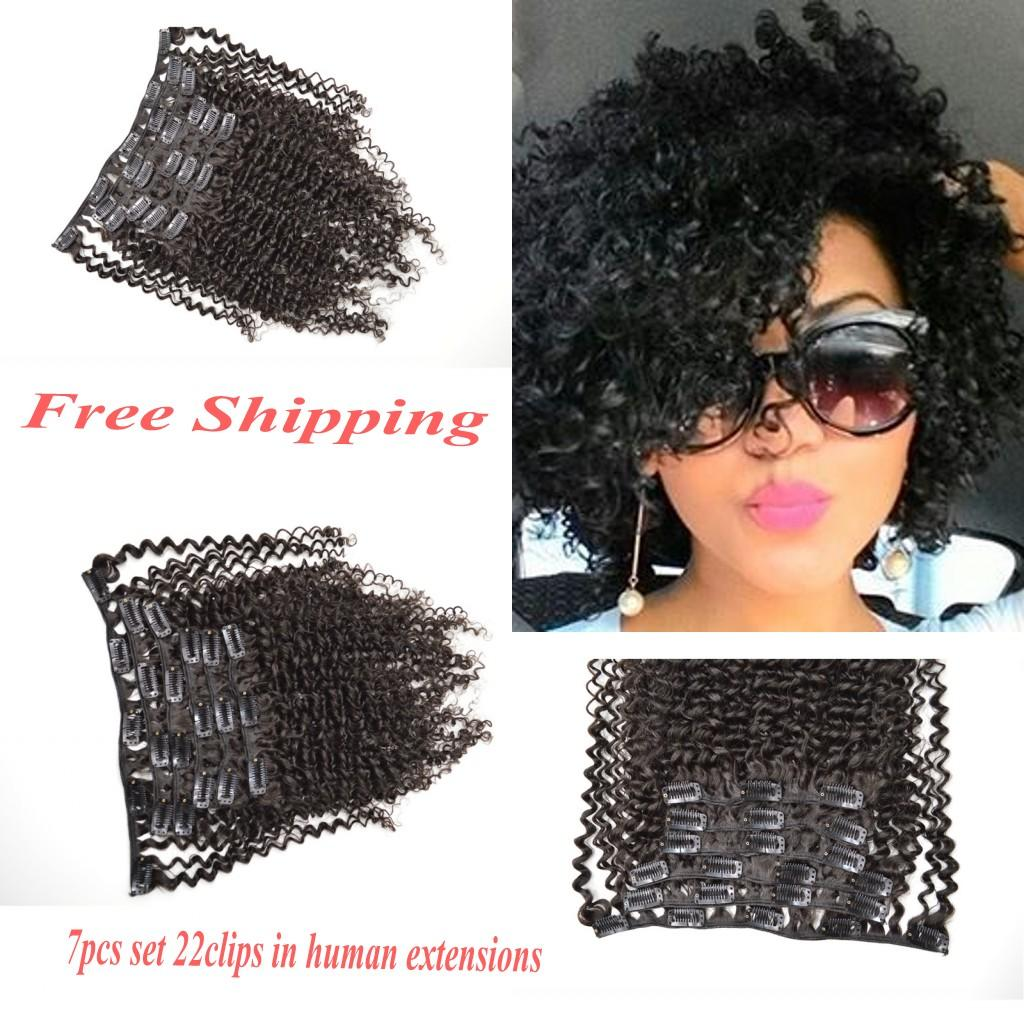 Virgin Peruvian Afro Kinky Curly Clip In Human Hair Extensions Curly