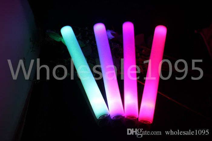 400 teile / los 3,6 * 40 cm Feste Rot Blau Grün Rosa Led Schaum Stick Led Baton Glow Stick ForWedding Party Weihnachten