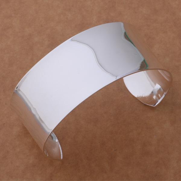 Gratis frakt med spårningsnummer Bästa Nya 925 Sterling Silver Big Smooth Wide Manschett Bangle Armband Julklapp Yrykewelry 1301