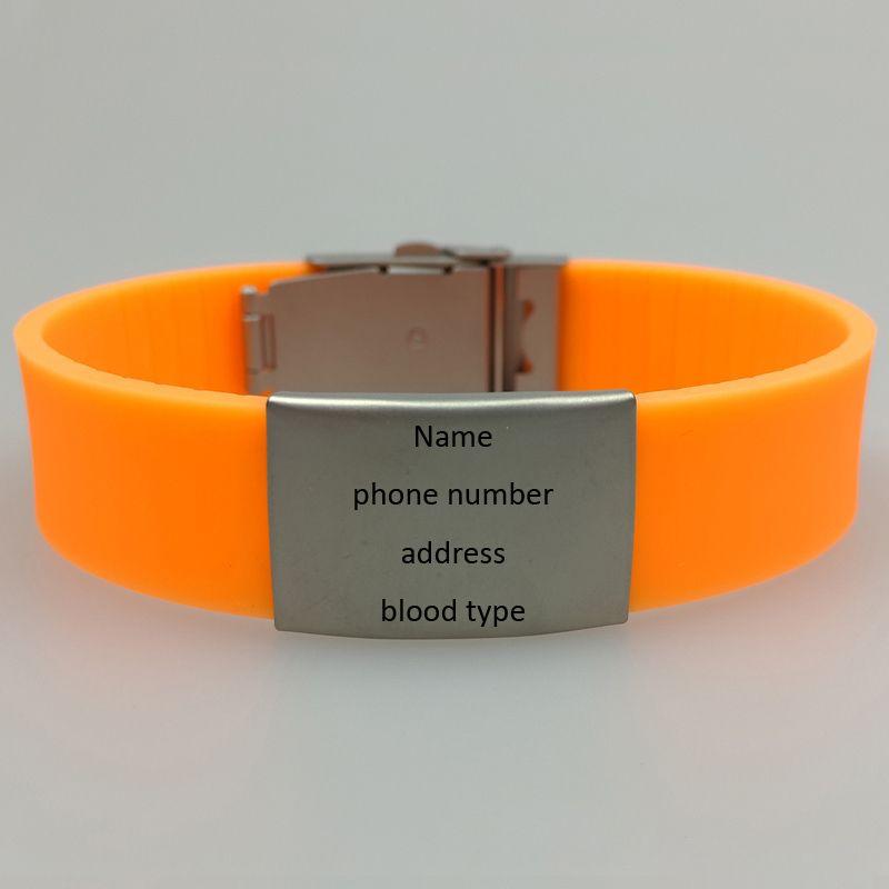 pulseira de identificação de alergia de emergência médica de silicone com fecho de metal e placa para gravura