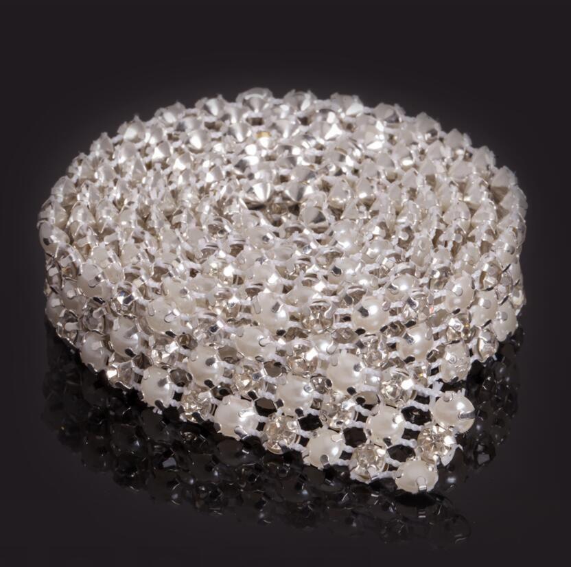 Nuovo MIC 1 Yard 3 Righe Clear Crystal Rhinestone Diamante nastro Perla Avvolge torta Craft Craft Dec Wedding Supplies