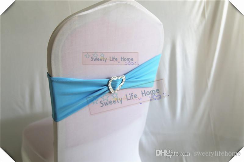 Turquoise color Chair Bands banquet Spandex Chair Sash Stretch Lycra chair bows with sillver Heart buckle
