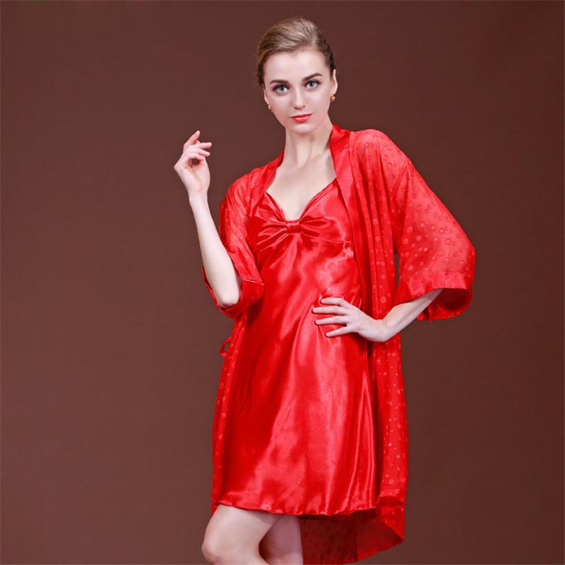 2019 Wholesale Thin Sexy Night Dress Silk Nightgown Women Nightwear  Sleepwear Sleepshirt Sleeping Dress Nighties For Women Home Dress SY038 39  From Balljoy 88f812b40