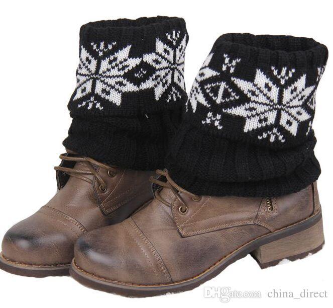 Neuer Weihnachtsschnee Blumenhäkelarbeit-Knit-Bein-Wärmer-Stiefel-Manschetten-Spitze-Stiefel-Socken / # 3914