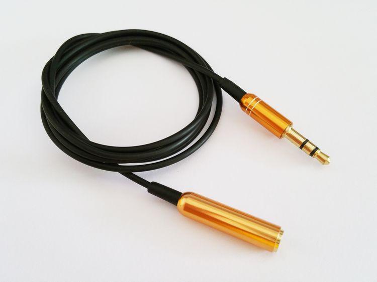 3.5mm Altın Jack Erkek Kadın Stereo AUX Uzatma Kordon Ses Kablosu MP3 Hoparlör Cep Telefonu Için DHL 500 adet / grup