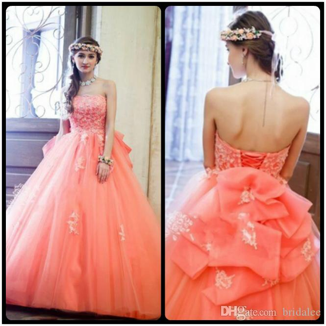 2016 Coral Boho Prom Dresses Greek Fluffy Ball Gown Tulle Pageant ...