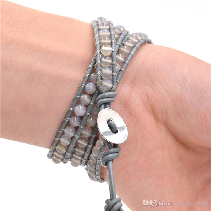 Livraison gratuite classique amitié de style vintage célèbre tissage en cuir 3 wrap bracelet noir boule de pierre perle bracelet à la main